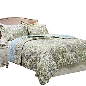 Brandream Green Paisley Printed Bedding Set Luxury Oversized Queen Quilt Set Soft Cotton Romantic Bedspreads Queen Size