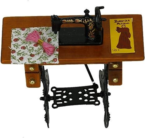 Newin Star Máquina de coser vintage en miniatura con ropa para ...