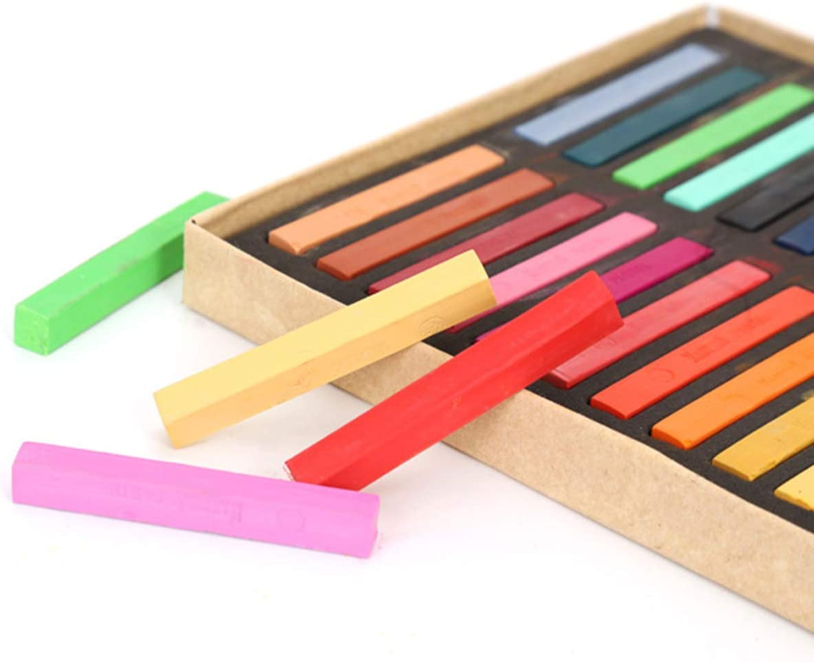 OhhGo 24 Colores Surtidos Pasteles de Tiza Tiza Cuadrada Juegos de Pasteles Suaves No T/óxicos Tiza Cuadrada Pastel de Tiza Pastel 48 Juegos de Colores Surtidos