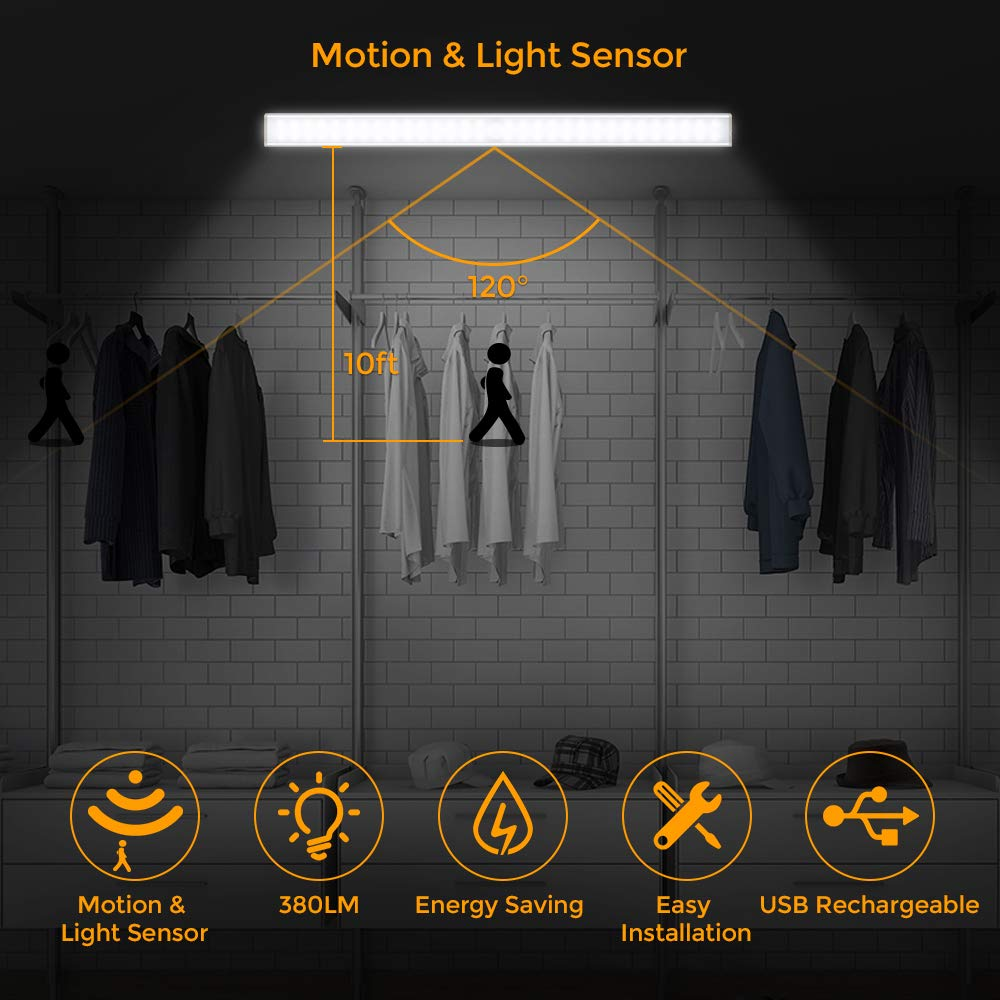 Motion Sensor Cupboard Lights, 60LED Under Kitchen Cabinet Wardrobe Closet Night Lighting Strips Wireless Rechargeable Battery , 2 Sensor Mode (Only Motion , Motion & Light)