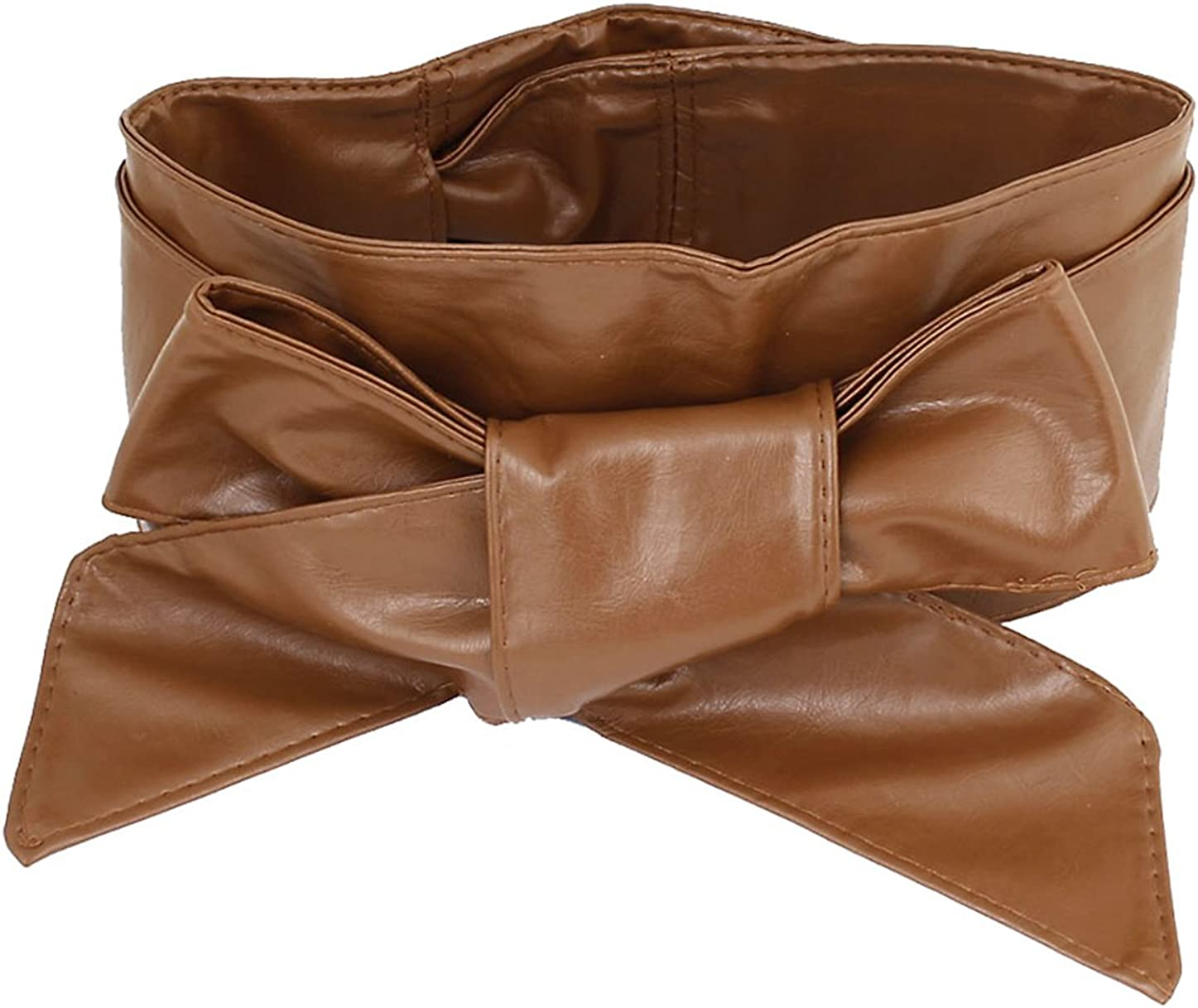 Womens Ladies Faux Leather Wrap Around Tie Bowknot Corset Cinch Waist Wide Belt
