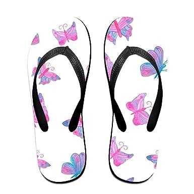 Couple Flip Flops Pink Butterfly Print Chic Sandals Slipper Rubber Non-Slip Beach Thong Slippers