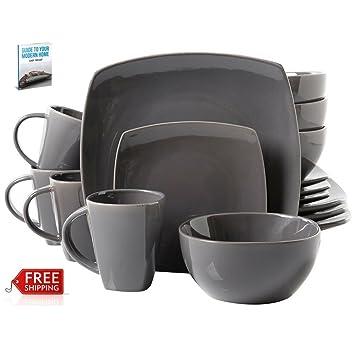Square Dinner Plates Set Of 16 Gray Ceramic Formal Dining Microwavable Dish Colored Crockery And Elegant  sc 1 st  Amazon.com & Amazon.com | Square Dinner Plates Set Of 16 Gray Ceramic Formal ...