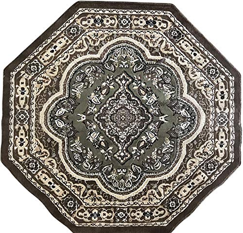 Black Octagon Rug - emirates Traditional Octagon Persian Oriental Rug Sage Light Green Black Brown Beige Design 520 (5 Feet 3 Inch X 5 Feet 3 Inch)
