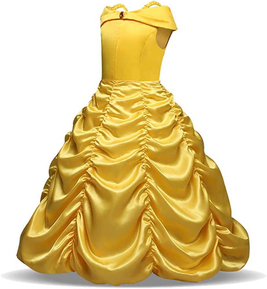 8T, Belle Dress Yellow Ecparty Princess Costumes Dress for Your Little Girls Dress up