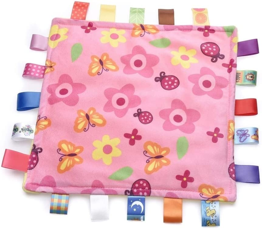 Inchant Colorful Ribbons Baby Taggy Blanket Comforter appese Towel Flower Shape Kids Toddlers Security Blanket