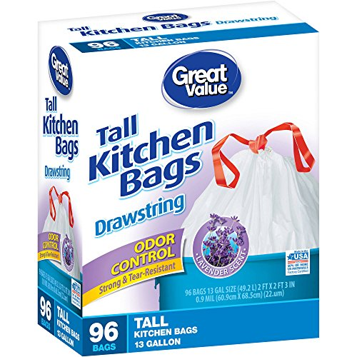 Great Value Odor Control Lavender Scent Drawstring Tall Kitchen Bags,