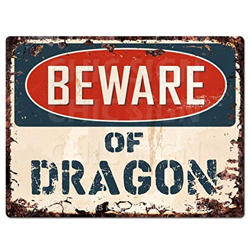 Beware of DRAGON Chic Sign Vintage Retro Rustic 9
