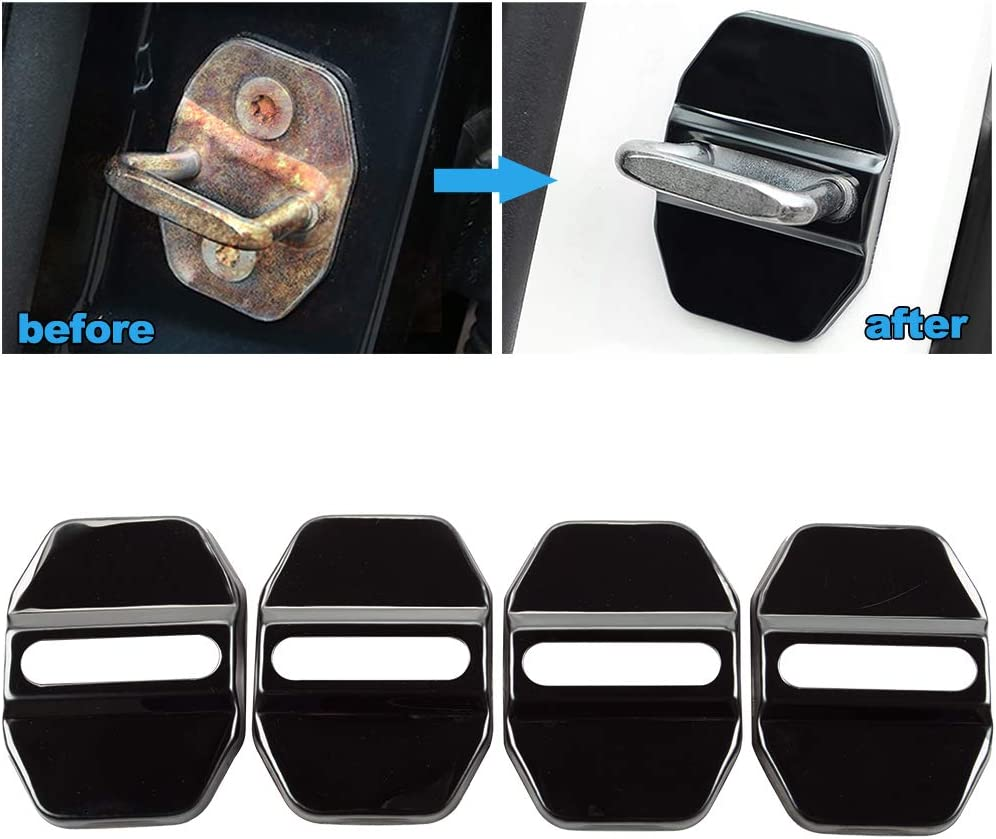 Stainless steel door lock cover carbon fiber pattern 3M Adhesive Backing 4-pc Set JINZHAO Car Door Lock Latches Cover Protector for Mercedes C//CLA//GLA//GLC//CLS//GLK//GLE//GLS//S//E//M//S//GL//SLK-Class AMG