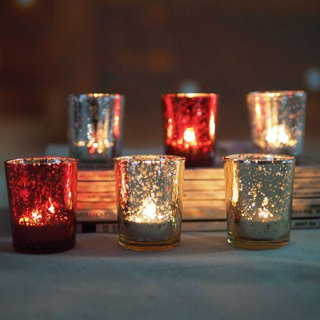 Glass Votive Candle Holders Gold Speckled Tealight Candle Holders Mercury Glass Candlestick Home Decoration for Dinner Wedding Party (Silver)