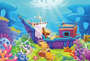 Amazon Com Aofoto 10x7ft Cartoon Under The Sea Pirate Ship Wreck Backdrop Baby Shower Kids Birthday Party Decorations Underwater Treasure Chest Coral Rock Photography Background Wallpaper Photo Studio Props Camera