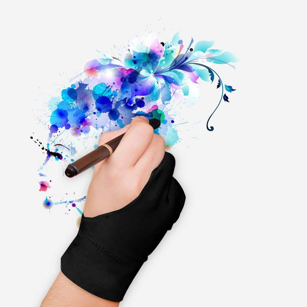 2pcs Black Two-Finger Glove for Graphics Drawing Tablet Light Box Tracing Light Pad,Artist Gloves for Graphics Tablet iPad Pro,Left or Right Hand