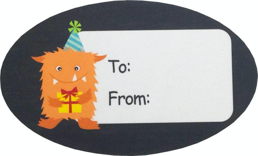 Monster Birthday Gift Tag Stickers 1 1/2 x 2 1/2 Inch 100 Adhesive Labels by InStockLabels.com (Image #4)