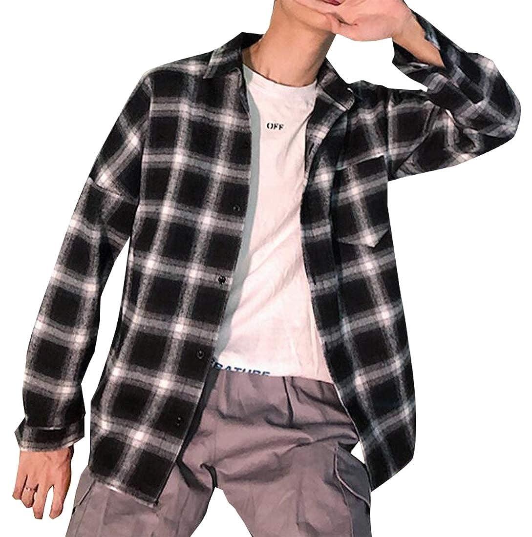 Generic Mens Long Sleeve Dress Shirts Plaid Checked Button Down Shirt