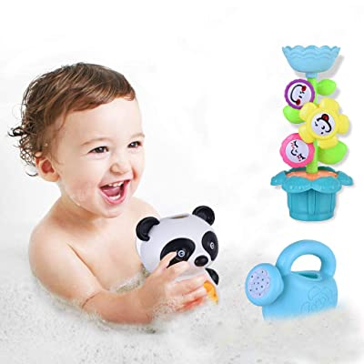 Ywoow Baby Toddler Bath Toy Set Flower Waterfall Water Park Fun Bath Toy Set, Bath Sprinkler Panda Combination US Warehouse Sent: Home & Kitchen