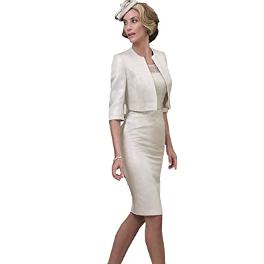 6b93584116c dressvip Round Neck Short Sleeves Silver Satin Mother of The Bride Dress  with Jacket Coat (18)  Amazon.co.uk  Clothing