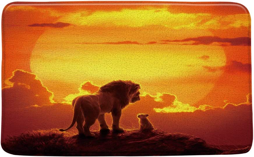 Lion Bath Mat Lion King Prairie Animal Sunset Sun Golden Cloud Orange Safari Theme Bathroom Decor Mat Set Soft Memory Foam Non Slip Backing 20X31 Inch