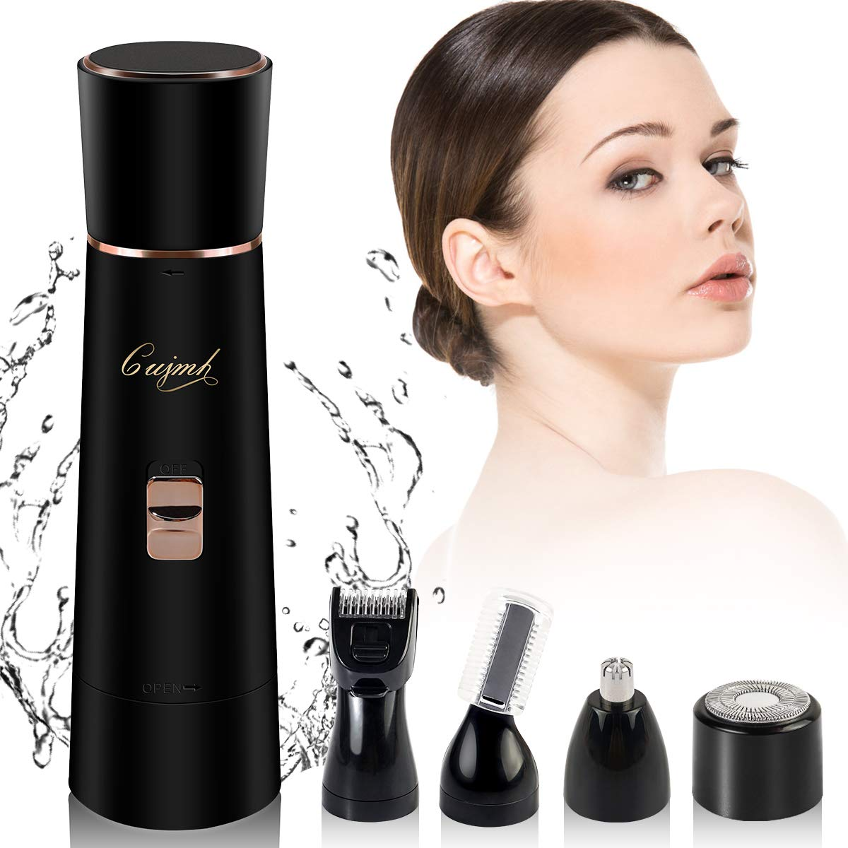 Facial Hair Removal for lady 4 in 1 Painless Electric Bikini Hair Removal Kits Included Hair Shaver Nose Trimmer Eyebrow Trimmer Body Shaver IPX6 Waterproof with USB Charging (Black)