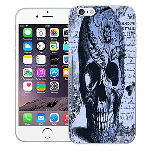 """Mobile Case Mate iPhone 6 4.7"""" Silicone Coque couverture case cover Pare-chocs + STYLET - Blue Periodical Skull pattern (SILICON)"""