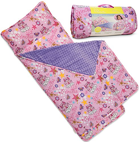 Kids Nap Mat with Removable Pillow - Soft, Lightweight Mats, Easy Clean Toddler Nap Pad for Preschool, Daycare, Kindergarten - Children Sleeping Bag (Pink with Princess Design) by Bambino ()