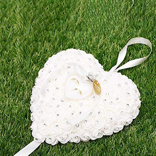 VU ANH TUAN Store Flower Ring Box Wedding Decorations Chic Heart-Shape Flowers Ring Pillow Party Decor