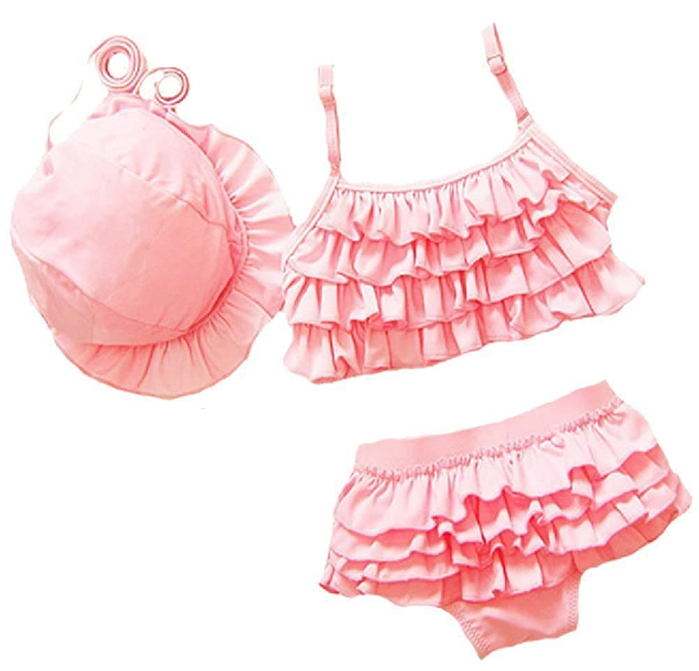 Wennikids Baby Girls Kids 3 Piece Set Ruffle Bikini Swimwear Swimsuit Set LC-OURS-8016