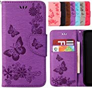 Yiizy Sony Xperia XZ1 / F8342 Case, Butterfly Design Premium Leather Flip Cover Wallet Bumper Slim Lightweight