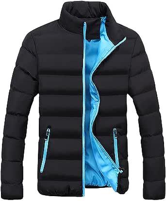 Chamarra de plumón para hombre, de algodón, estilo casual, ligera, ajustada, para exteriores, ropa de parka, cuello alto