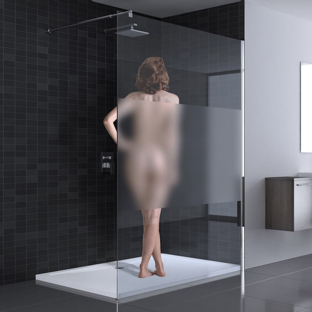 Sogood Luxus Duschwand Duschabtrennung Bremen1MS 80x200 Walk-In Dusche mit Stabilisator aus Echtglas 8mm ESG-Sicherheitsglas Klarglas inkl Nanobeschichtung