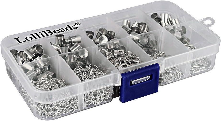 Silver-5.5 mm-60 sets 5.5 mm Enden zur Schmuckherstellung versilbert Zinn mit Zylindern f/ür Lederkordel Set TM lollibeads
