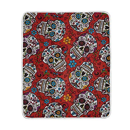 Sugar Skull Cross Flower Throw Blanket Soft Warm Cozy Bed Couch Lightweight Polyester Microfiber Size 50