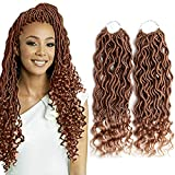 6 Packs Goddess Locs Crochet Hair Wavy Curly Faux Locs Crochet Braids Synthetic Hair Extensions Dreadlocks Crochet Locs Low Temperature Braiding Hair (14'' (6 Packs), 27)