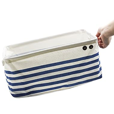 Jasis Woo ASAPS Large Canvas Fabric Cube Foldable Organizer Storage Basket with Handle (Navy Blue Stripes)