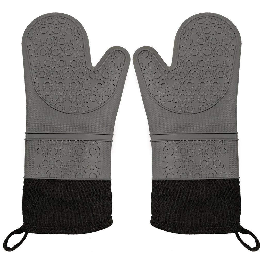 CalSunO Professional Silicone Oven Mitts Heat Resistant Commercial Grade Extra Long Quilted Cotton Lining Arm Guard- BBQ Grill Kitchen Versatile Insulated Potholder Comfortable Grip 1 Pair Set Gloves