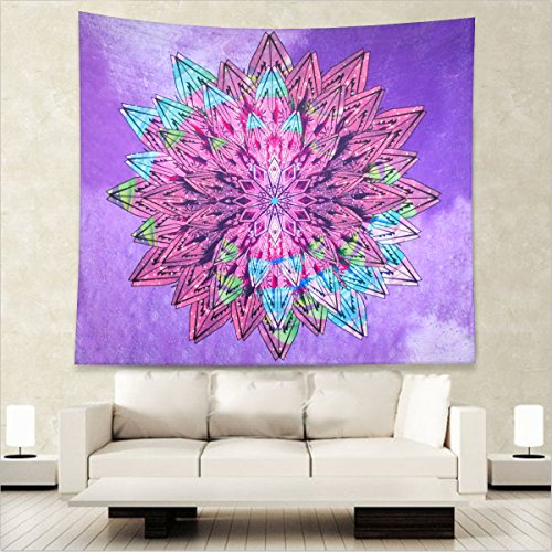 Home Lotus Flower Indian Hippie Bohemian Wall Tapestry Mandala Wall Hanging Tapestry Bedding Cover (M - 59.05