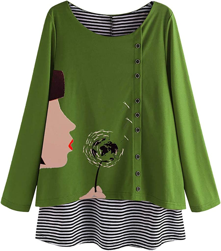 B0836H7BLD URIBAKE Women Plus Size Print Blouse Casual Long Sleeve Loose Pullover Tops Shirt 61VZrRBnuxL