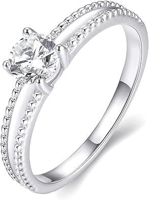 Señoras Oro Blanco Acabado Diamante Infinito Amor Promesa diseñador Anillo De Moda