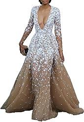 6f1d7c3315e Lovelybride Modern Deep V Neck Appliques Embroidery Long Sleeve Formal  Evening Dress