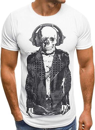 Camisetas Hombre Manga Corta, Lunule Slim Fit Camiseta de Manga Corta de Calavera Impresión Casual Camisa Blusa Tops para Hombre Verano: Amazon.es: Ropa y accesorios
