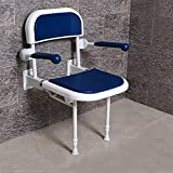 Multifunction Bathroom Folding Shower Seat Wall Mounted with Back and Armrest,Height Adjustable,Specifically for The Elderly / Pregnant Women / Disabled People, 550 lb load , blue with armrest