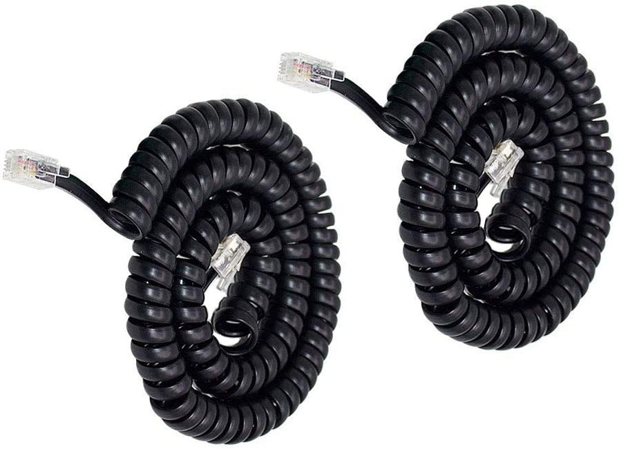 Telephone Phone Handset Cable Cord,Uvital Coiled Length 1.56 to 13 Feet Uncoiled Landline Phone Handset Cable Cord RJ9/RJ10/RJ22 4P4C(Black,2 PCS)