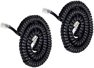 Telephone Phone Handset Cable Cord,Uvital Coiled Length 1.2 to 10 Feet Uncoiled Landline Phone Handset Cable Cord RJ9/RJ10/RJ22 4P4C(Black,2 PCS)