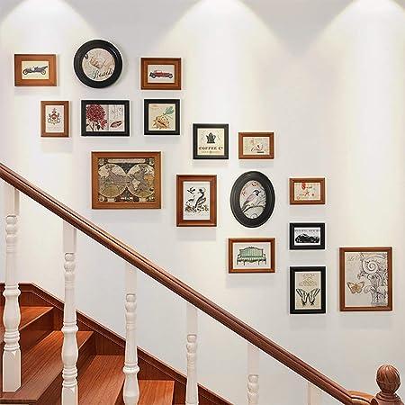 Aboyzj Marcos de Fotos Juego de Marcos de Pared para escaleras Vintage Collage Imagen Marcos de Madera Ilustraciones y Familia utilizables, Juegos de 16 Cuadro de visualización de Fotos (Color : B):
