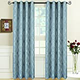 Set of 2 Panels 104″Wx63″L -Royal Tradition – Regalia -Blue- Jacquard Grommet Window Curtain Panels, 52-Inch by 63-Inch each Panel. Package contains set of 2 panels 63 inch long