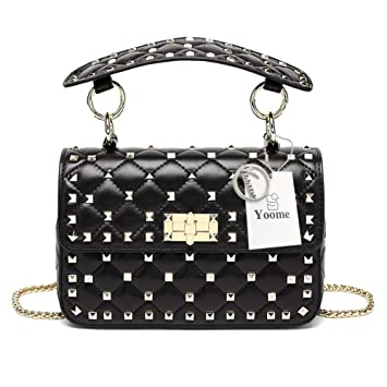 Yoome Genuine Leather Quilted Shoulder Bag Chain Purse Mini Clutch with Bling  Rivets Top Handle Handbags  Amazon.co.uk  Pet Supplies 8267ed9674