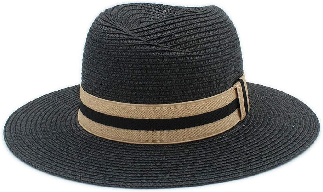 2019 Summer Women Men Toquilla Straw Sun Hat Elegant Lady Wide Brim Panama Hat Godfathe Hat Beach Cap 56-58CM
