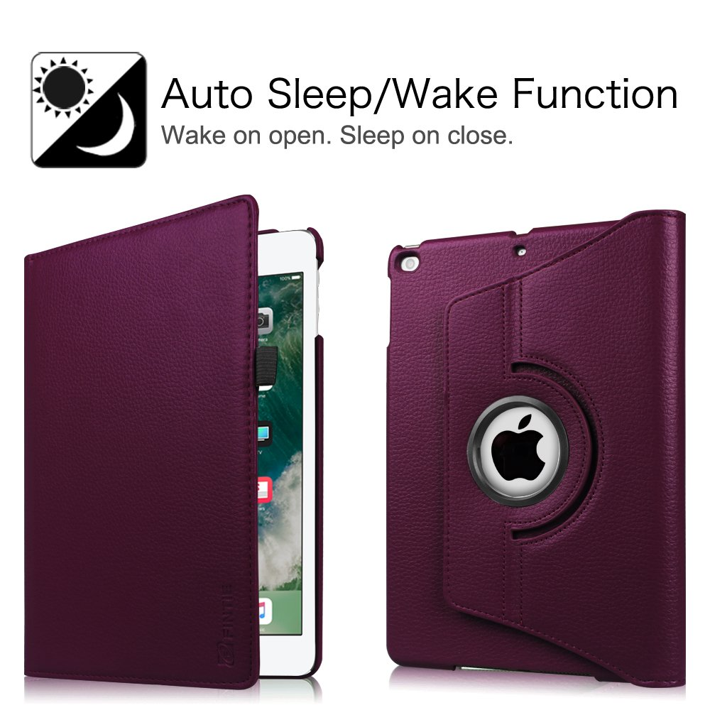 Fintie iPad 9.7 inch 2018 2017 / iPad Air Case - 360 Degree Rotating Stand Protective Cover with Auto Sleep Wake for Apple iPad 9.7 inch (6th Gen, 5th Gen) / iPad Air 2013 Model, Purple by Fintie (Image #4)