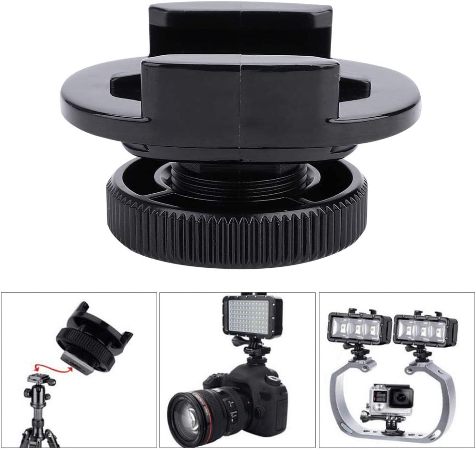 for Hero 6//5//4//3//3+//Session fosa High-Durability 360/° Swivel DSLR Camera Cold Shoe Transfer Base Adapter with 1//4 Screw Waterproof LED Light SJCAM XIAOYI etc
