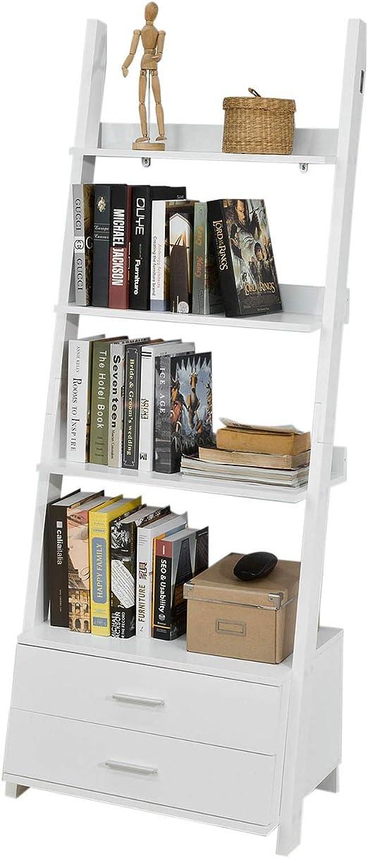 SoBuy Estanteriá en Escalera de Pared,Librería, 4 Áreas y 2 ...