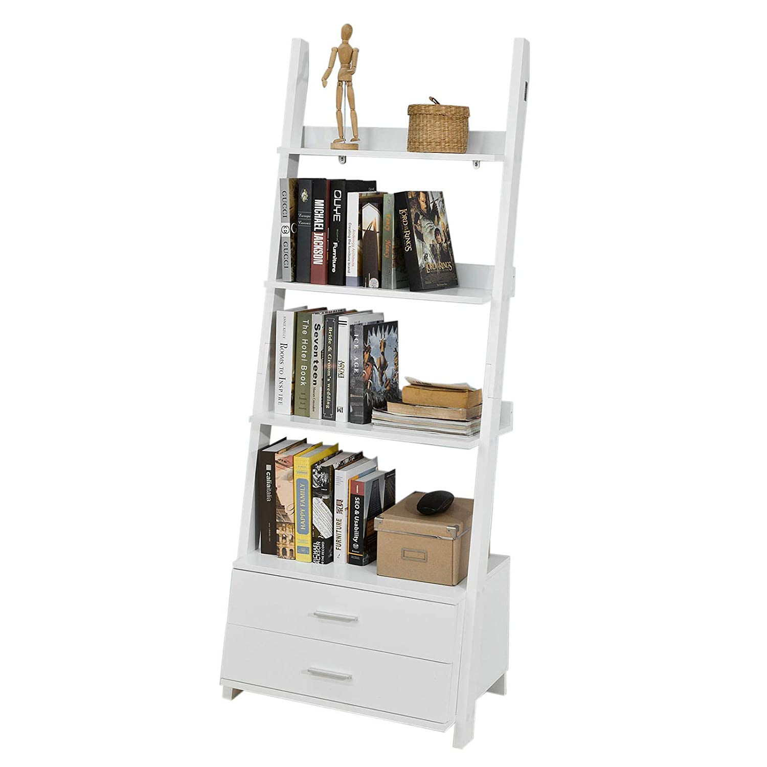 SoBuy FRG230-W, Ladder Shelf Wall Shelf Bookcase Storage Display Shelving Unit with 3 Shelves and 2 Drawers, White